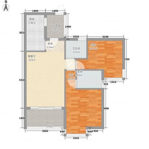 元丰苑2室1厅2卫1厨96.00㎡户型图