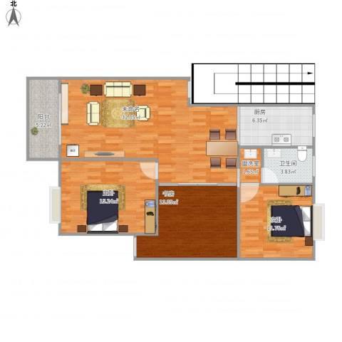 学府壹号3室1厅1卫1厨121.00㎡户型图