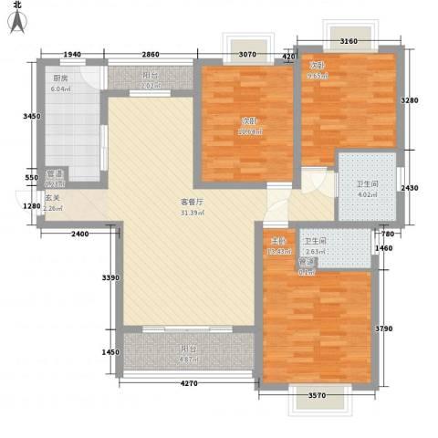 观府3室1厅2卫1厨142.00㎡户型图