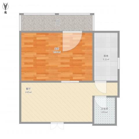 华江里1室1厅1卫1厨59.00㎡户型图