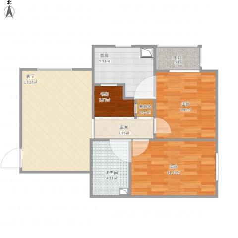 朝阳花园3室1厅1卫1厨80.00㎡户型图