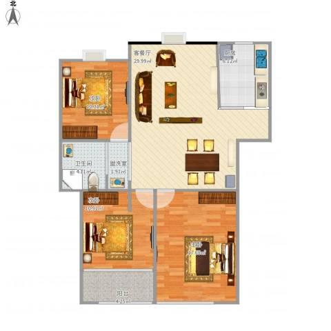 易郡龙腾3室2厅1卫1厨115.00㎡户型图
