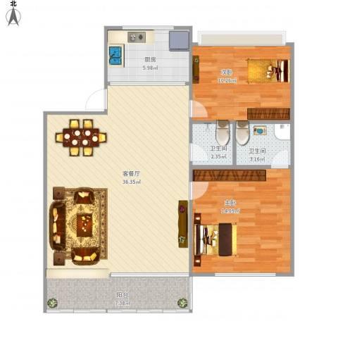 侨福城一期2室1厅2卫1厨104.00㎡户型图