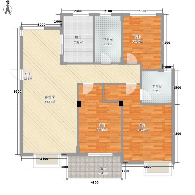 义和花园121.30㎡B2伯爵(东)户型3室2厅2卫1厨