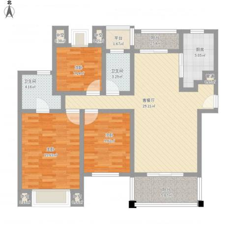 莱蒙水榭春天3室1厅2卫1厨128.00㎡户型图