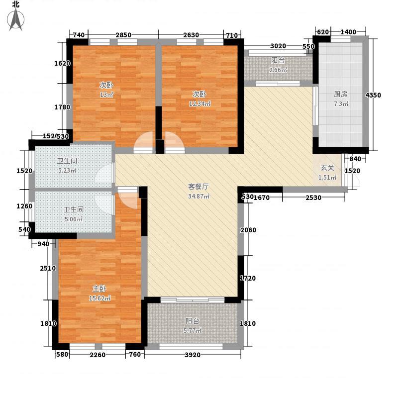 景臣御园134.00㎡8号楼-F1户型3厅2卫2厨