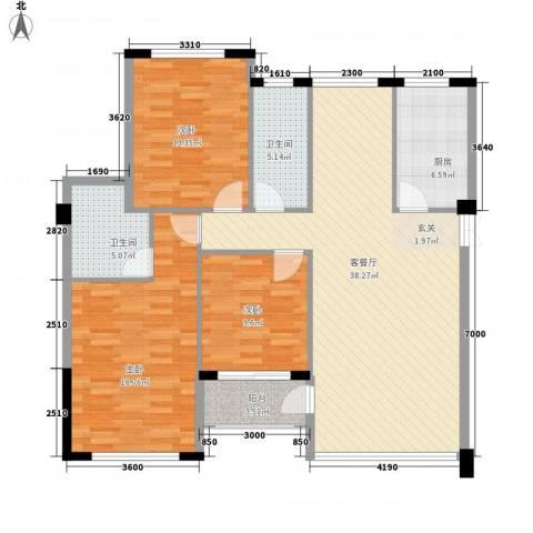 壮龙・幸福新城3室1厅2卫1厨1122.00㎡户型图
