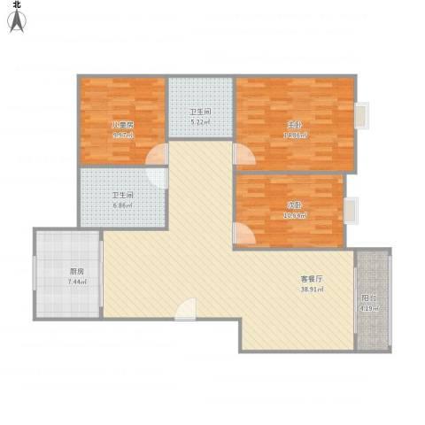 海韵嘉园3室1厅2卫1厨131.00㎡户型图