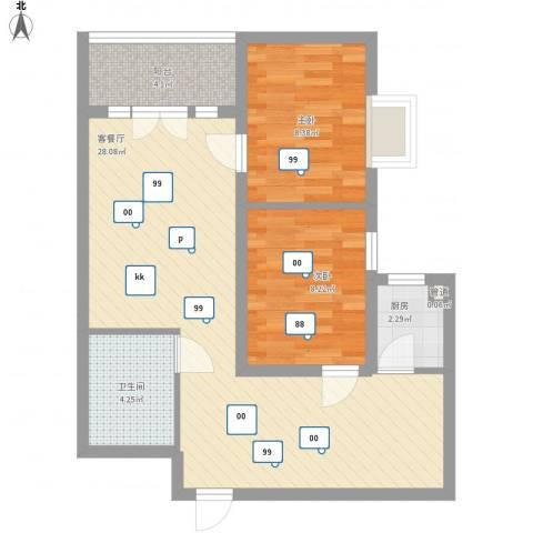 新街坊佳兴园2室1厅1卫1厨80.00㎡户型图