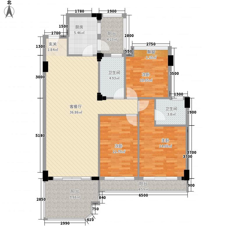 幸福里124.13㎡8#B户型3室2厅2卫1厨