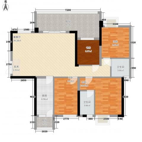 东泰花园4室1厅2卫1厨135.00㎡户型图