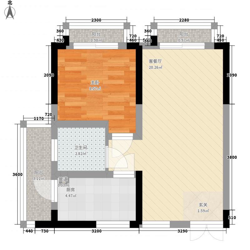 时兴・尚上城14156.33㎡B户型1室2厅1卫1厨