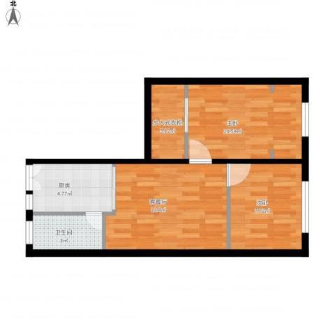 海防新村2室1厅1卫1厨47.43㎡户型图