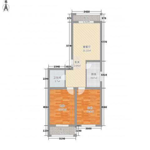 南山秀水2室1厅1卫1厨88.00㎡户型图