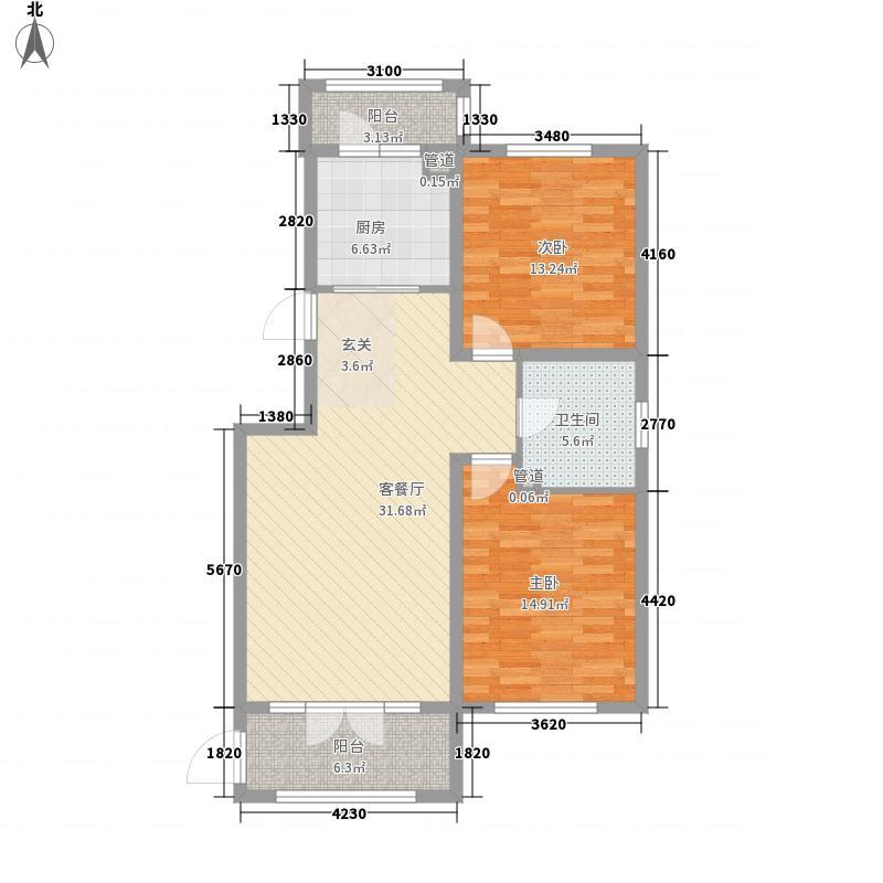 盛和湾117.40㎡A1-东户型2室2厅1卫