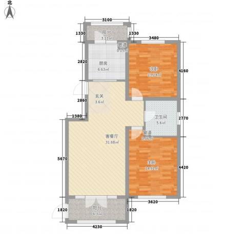 盛和湾2室1厅1卫1厨117.00㎡户型图
