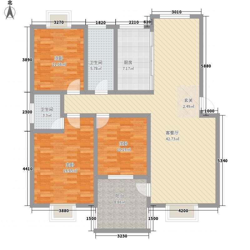 潇湘国际花城14.42㎡牡丹园B栋户型3室2厅2卫1厨