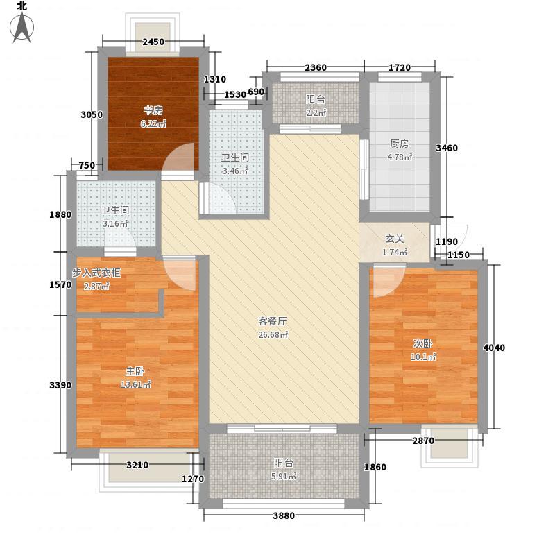 华德力运河城112.43㎡二期3#、6#楼丽悠园D7户型3室2厅2卫1厨