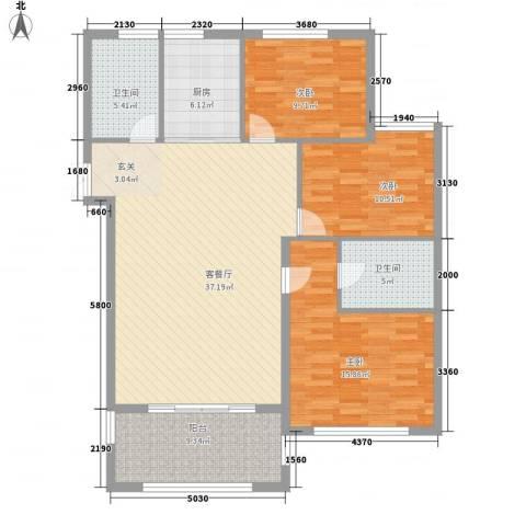 稽山南苑三期3室1厅2卫1厨139.00㎡户型图