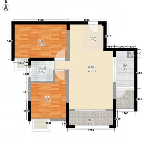 元友・南城都汇二期2室1厅1卫1厨77.00㎡户型图