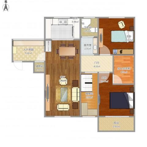 南艳滨湖时光2室2厅1卫1厨108.00㎡户型图