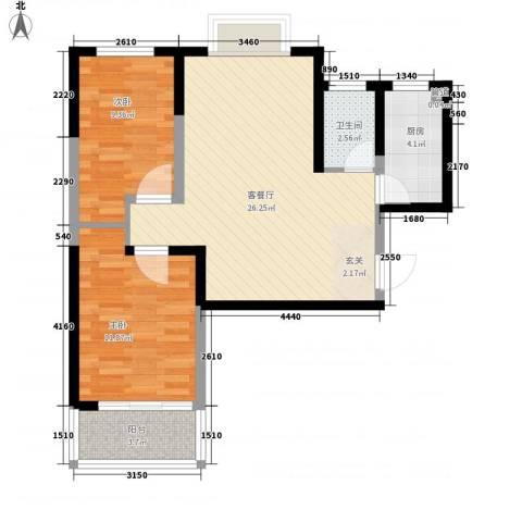 明泽园2室1厅1卫1厨85.00㎡户型图