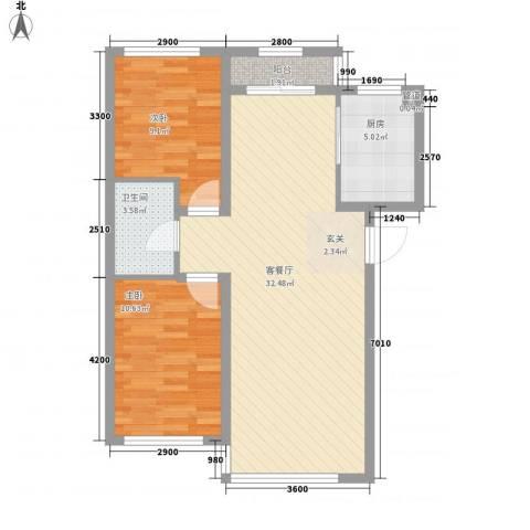 禾泰嘉园2室1厅1卫1厨84.00㎡户型图