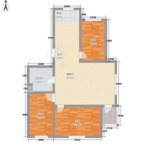 宗裕国际鑫城3室1厅1卫0厨117.00㎡户型图