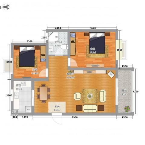 盛世虹桥二期2室1厅2卫1厨77.00㎡户型图