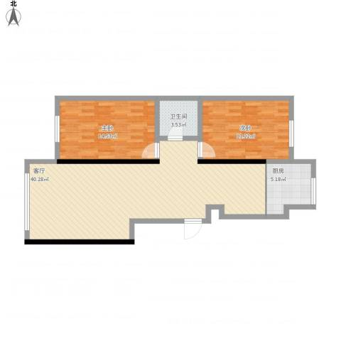 兴大都2室1厅1卫1厨108.00㎡户型图