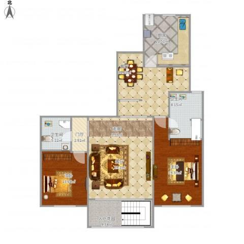 半岛公馆2室2厅2卫1厨159.00㎡户型图