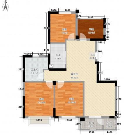 长江国际二期晶源4室1厅1卫1厨122.00㎡户型图