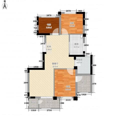 长江国际二期晶源3室1厅1卫1厨94.00㎡户型图