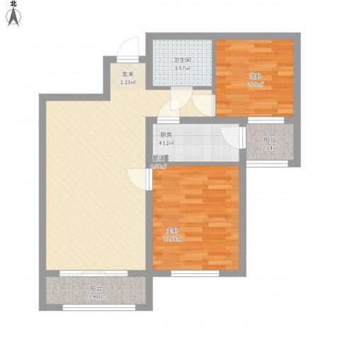 中宏美丽园二期2室1厅1卫1厨85.00㎡户型图