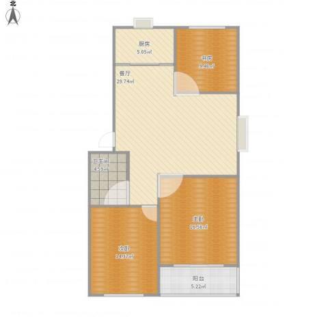 盛世华庭3室1厅1卫1厨114.00㎡户型图