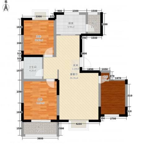 万象华城3室1厅1卫1厨93.90㎡户型图