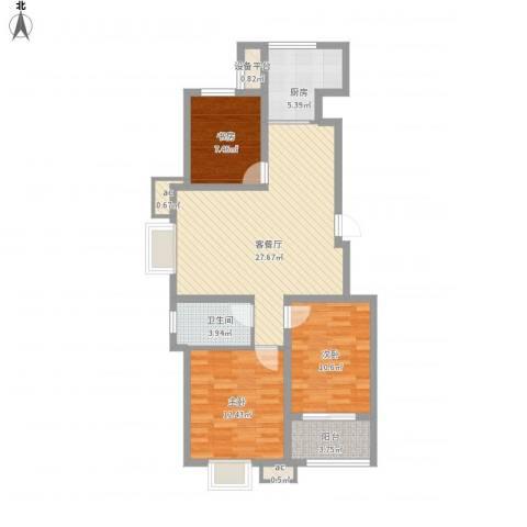 御山雅苑3室1厅1卫1厨106.00㎡户型图