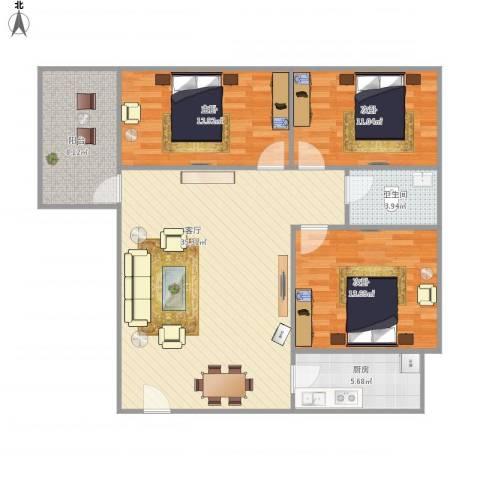 惠景城3室1厅1卫1厨121.00㎡户型图