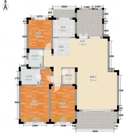 中国铁建领秀城3室1厅2卫1厨156.13㎡户型图