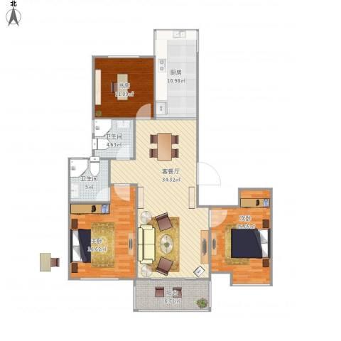华邦国际1103室1厅2卫1厨140.00㎡户型图