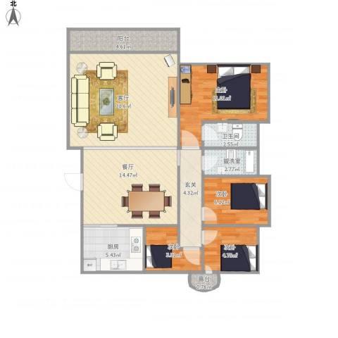 比华利山庄4室3厅1卫1厨111.00㎡户型图