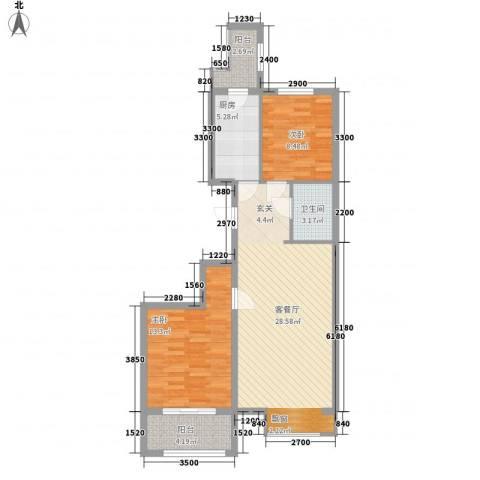 皇家壹里2室1厅1卫1厨94.00㎡户型图