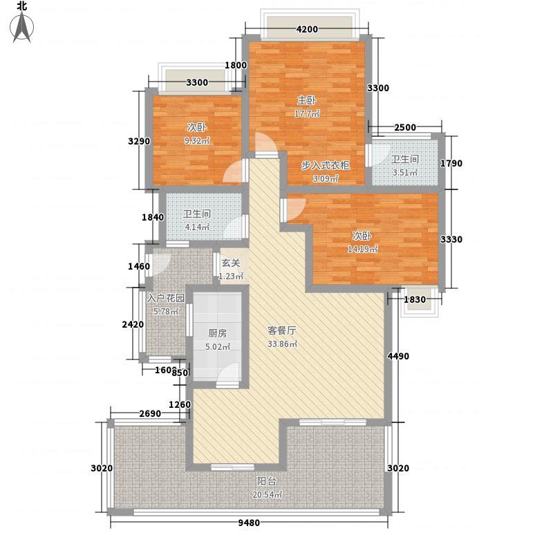 融豪・翡翠城128.00㎡C22F双卫户型3室2厅2卫1厨