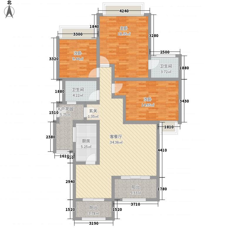 融豪・翡翠城128.00㎡C23F、4F、5F双卫户型3室2厅2卫1厨
