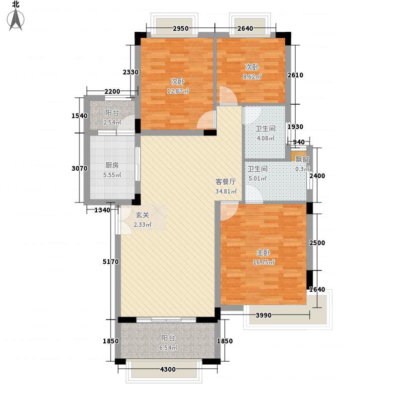 里维埃拉18.72㎡D户型3室2厅2卫