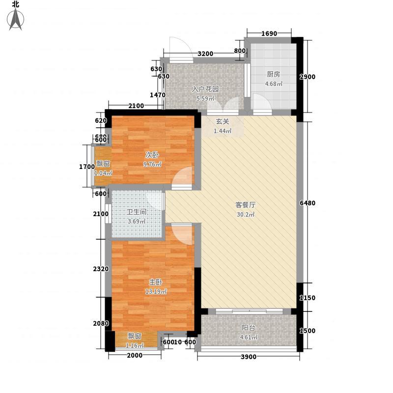 荣新・两江国际C型10号楼户型2室2厅1卫1厨