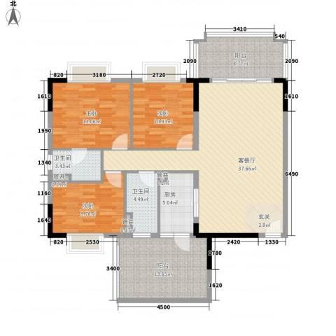 锦绣江南3室1厅2卫1厨106.67㎡户型图