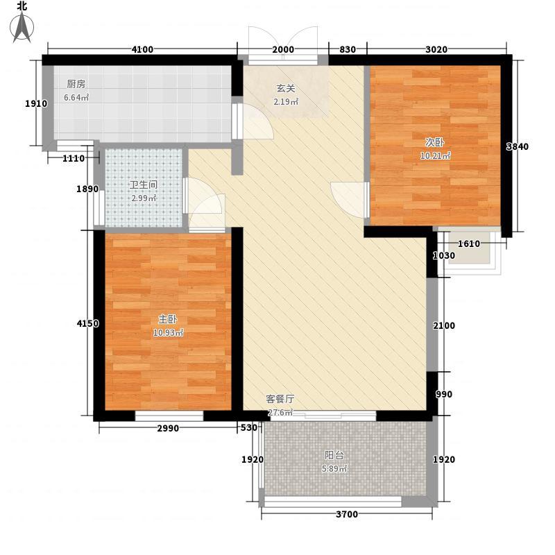 加洲国际城二期户型2室2厅1卫1厨