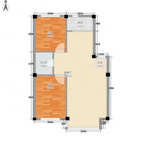 人禾金华苑2室1厅1卫1厨60.78㎡户型图