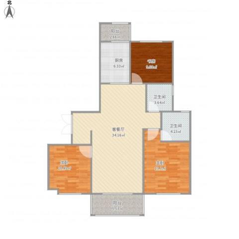 华邦国际3室1厅2卫1厨121.00㎡户型图